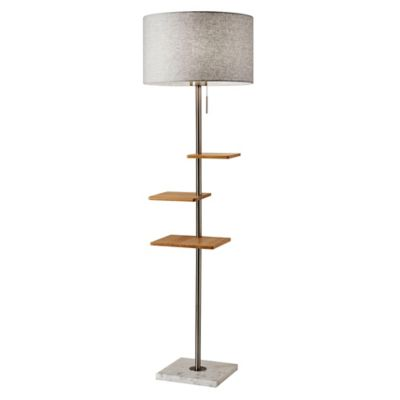 Adesso® Griffin Shelf Floor Lamp With USB Ports In Brushed Steel/Natural