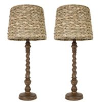 Décor Therapy 29-Inch Table Lamp in Wood with Seagrass Shade (Set of 2)