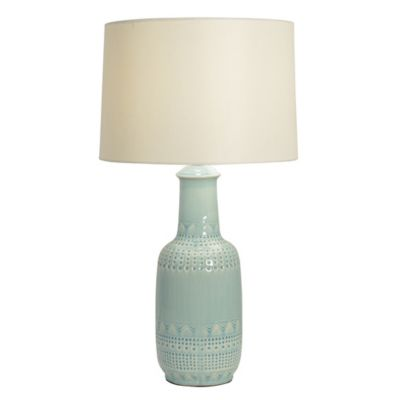 Buy green lamps shades from bed bath beyond patterned ceramic table lamp in green with fabric shade aloadofball Gallery