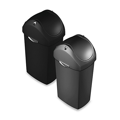 Simplehuman plastic swing lid 60 liter trash can bed bath beyond Lidded trash can for bathroom