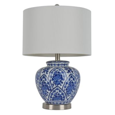 Buy blue white table lamp from bed bath beyond dcor therapy ceramic table lamp in bluewhite with drum shade mozeypictures Images