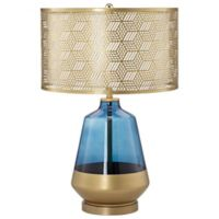 Pacific Coast Lighting Glass Table Lamp in Blue with Metal Shade