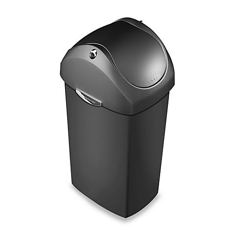 simplehuman plastic swing lid 60 liter trash can in grey bed bath beyond. Black Bedroom Furniture Sets. Home Design Ideas