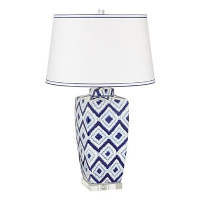 Pacific Coast® Lighting Diamond Pattern Ceramic Table Lamp In Blue/White