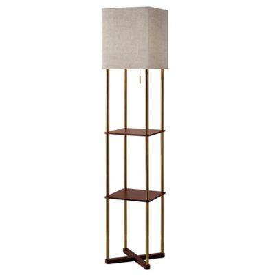 Buy shelf floor lamp from bed bath beyond adesso harrison shelf floor lamp in antique brass aloadofball Gallery