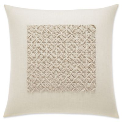 vera wang home winter blossoms cross stitched square throw pillow in natural - Decorative Bed Pillows