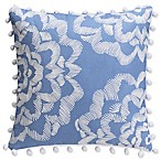 April Showers Square Throw Pillow in White/Blue