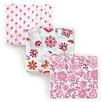 Hudson Baby 3-Pack Floral Muslin Swaddle Blanket in Pink
