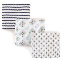 Hudson Baby 3-Pack Aztec Muslin Swaddle Blanket in Blue