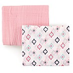 Hudson Baby 2-Pack Aztec Muslin Swaddle Blanket in Pink
