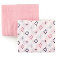 Hudson Baby 2-Pack Aztec Muslin Swaddle Blanket in Pink