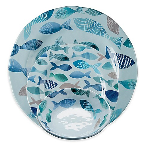 tag Fish Melamine Dinnerware Collection in Blue  sc 1 st  Bed Bath \u0026 Beyond & tag Fish Melamine Dinnerware Collection in Blue - Bed Bath \u0026 Beyond