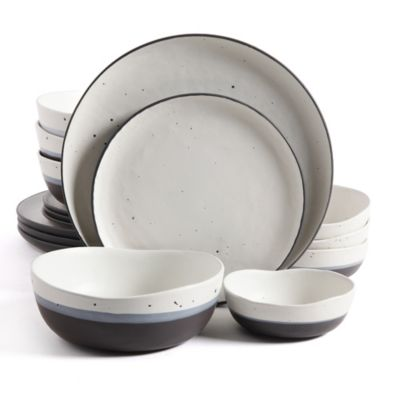 Gibson Elite Rhinebeck Double Bowl 16-Piece Dinnerware Set in White/Black  sc 1 st  Bed Bath u0026 Beyond & Buy Black Dinnerware Sets from Bed Bath u0026 Beyond