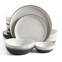 Gibson Elite Rhinebeck Double Bowl 16-Piece Dinnerware Set in White/Black