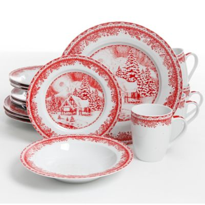 Gibson Elite Winter Cottage 16-Piece Dinnerware Set in White/Red  sc 1 st  Bed Bath \u0026 Beyond : gibson evening blossom dinnerware set - pezcame.com