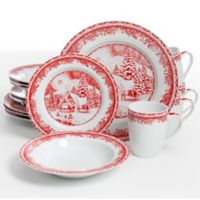 Gibson Elite Winter Cottage 16-Piece Dinnerware Set in White/Red
