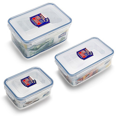 Lock lock rectangular food container in clear blue for Clear bathroom containers