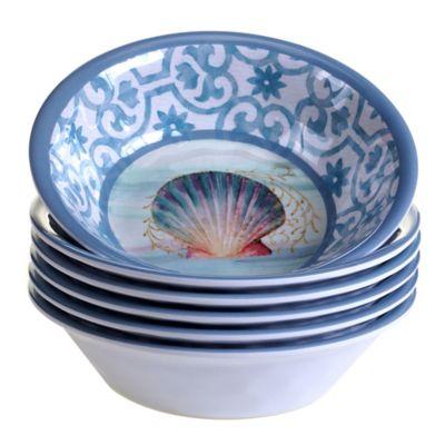 Certified International Ocean Dream Melamine All-Purpose Bowls (Set of 6)  sc 1 st  Bed Bath \u0026 Beyond & Buy Ocean Blue Dinnerware Sets from Bed Bath \u0026 Beyond