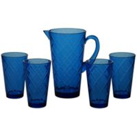 Certified International Diamond 5-Piece Pitcher Set in Cobalt Blue
