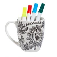 Just Add Color™ Paisley Coloring Mug