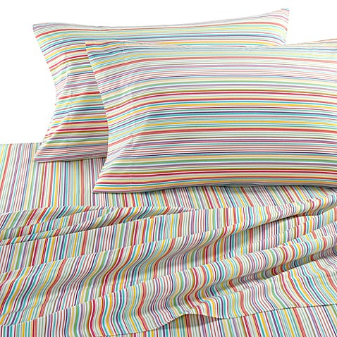 Self Expressions Multi Colored Stripes Sheet Set 100 Cotton 270 Thread Count Bed
