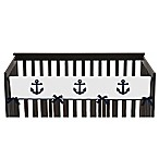 Sweet Jojo Designs Anchors Away Long Crib Rail Guard Cover in Navy/White