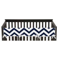 Sweet Jojo Designs Chevron Long Crib Rail Guard Cover in Navy/White