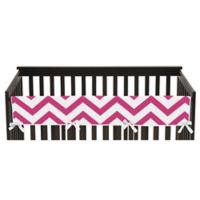 Sweet Jojo Designs Chevron Long Crib Rail Guard Cover in Pink/White