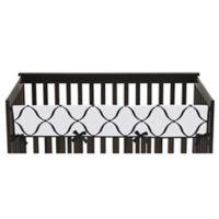 Sweet Jojo Designs Princess Long Crib Rail Cover in Black/White