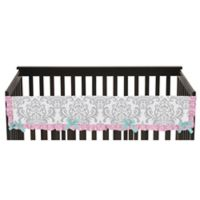 Sweet Jojo Designs Skylar Long Crib Rail Guard Cover in Pink/White