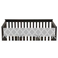 Sweet Jojo Designs Trellis Long Crib Rail Guard Cover in Grey/White