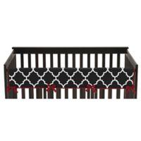 Sweet Jojo Designs Trellis Long Crib Rail Guard Cover in Red/White