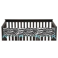 Sweet Jojo Designs Funky Zebra Long Crib Rail Guard Cover in Turquoise/White