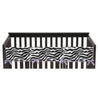 Sweet Jojo Designs Funky Zebra Long Crib Rail Guard Cover in Purple/White