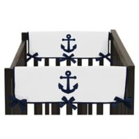 Sweet Jojo Designs Anchors Away Side Crib Rail Guard Covers in Navy/White (Set of 2)