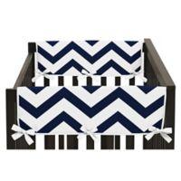 Sweet Jojo Designs Chevron Short Crib Rail Guard Covers in Navy/White (Set of 2)
