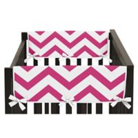 Sweet Jojo Designs Chevron Side Crib Rail Guard Covers in Pink/White (Set of 2)