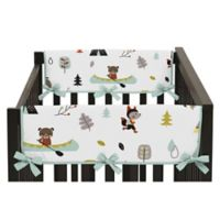 Sweet Jojo Designs® Outdoor Adventure Short Crib Rail Guard Covers in Aqua/White (Set of 2)