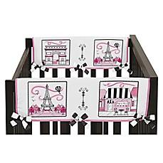 Sweet Jojo Designs Paris Side Crib Rail Covers In Pink White Set Of 2