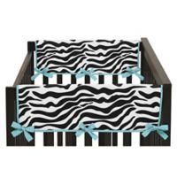 Sweet Jojo Designs Funky Zebra Side Crib Rail Covers in Turquoise/White (Set of 2)