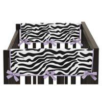 Sweet Jojo Designs Funky Zebra Side Crib Rail Covers in Purple/White (Set of 2)