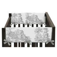 Sweet Jojo Designs French Toile Crib Rail Guard Covers in Black/Cream (Set of 2)