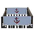 Sweet Jojo Designs Come Sail Away Side Crib Rail Covers in Chambray Blue/Red (Set of 2)