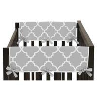 Sweet Jojo Designs Trellis Side Crib Rail Covers in Grey/White (Set of 2)