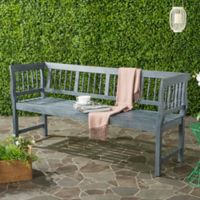 Safavieh Brentwood All-Weather Acacia Wood Bench in Grey