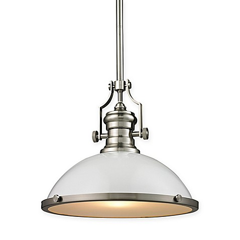 image of ELK Lighting Chadwick 17-Inch 1-Light Pendant Light with White Glass Shade