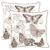 Safavieh Flutter Butterfly Print Square Throw Pillows (Set of 2)