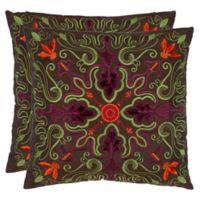 Safavieh Ariel 18-Inch Square Throw Pillows (Set of 2)