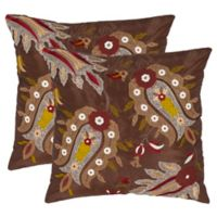 Safavieh Skipper Square Throw Pillows in Chestnut (Set of 2)