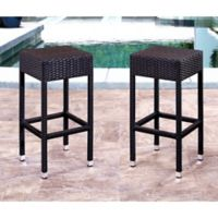 Abbyson Living® Cailen Set of 2 Outdoor Wicker Bar Stools in Espresso